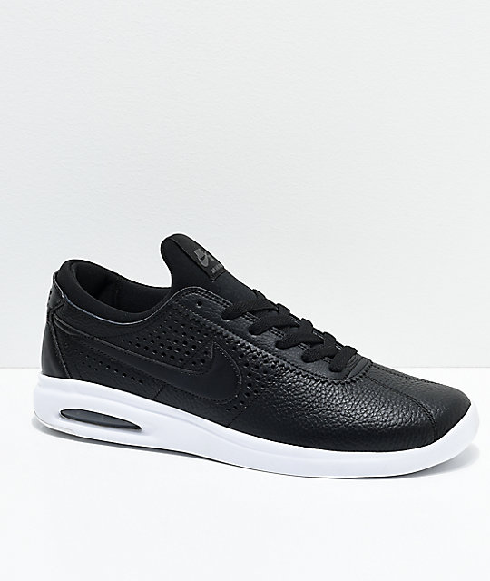 Nike SB Bruin Vapor Air Max Black & White Leather Skate Shoes