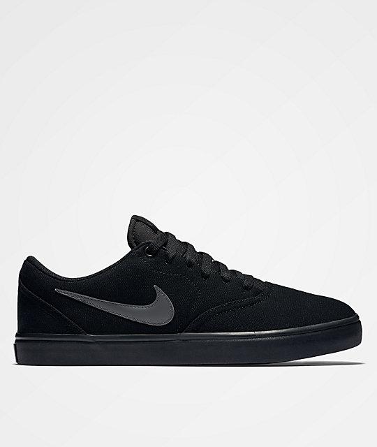 6720d9ac1144 Nike SB Check Solarsoft All Black Canvas Skate Shoe