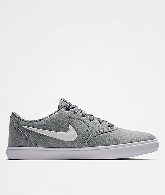 Nike SB Check Solarsoft Grey Canvas Skate Shoes  67ed2a11d484