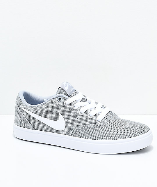 df150771154d Nike SB Check Solarsoft Grey and White Skate Shoes