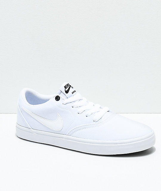 promo code 21254 3d9b2 Nike SB Check Solarsoft White Canvas Skate Shoes   Zumiez
