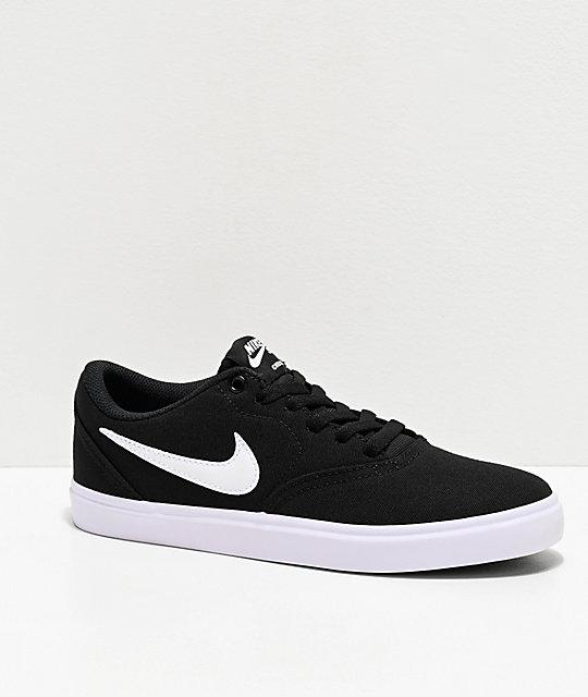 Nike SB Check Solarsoft zapatos de skate de lienzo negro y blanco