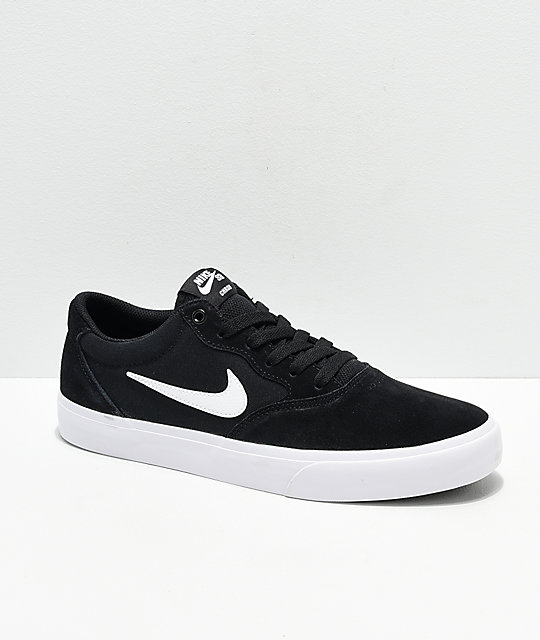 201db3ca3bd14 Nike SB Chron SLR Black   White Skate Shoes
