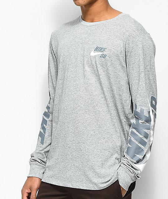 db51e8bc Nike SB DRY Tonal Grey Long Sleeve T-Shirt | Zumiez