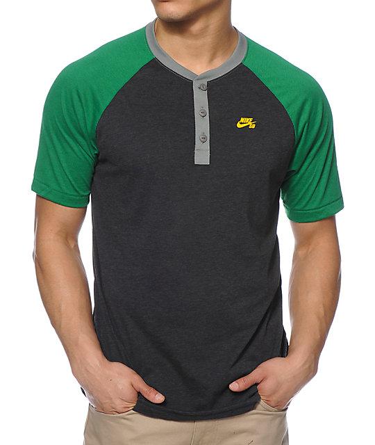 04342e984 Nike SB Davis Dri-Fit Charcoal Henley T-Shirt | Zumiez