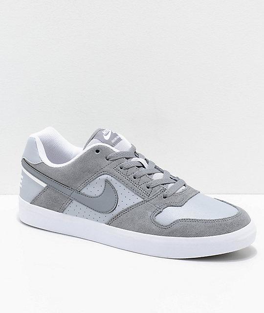 Nike SB Delta Force Cool Grey & White Skate Shoes