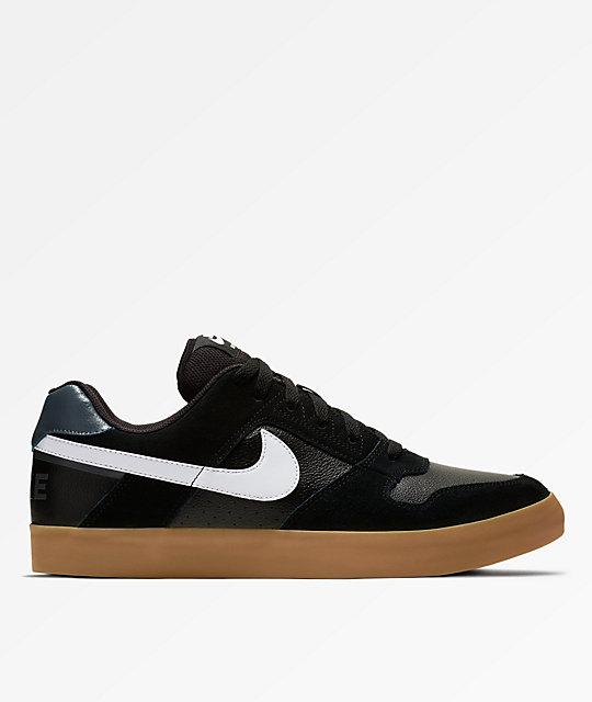 Nike SB Delta Force Vulc Black, White & Gum Skate Shoes