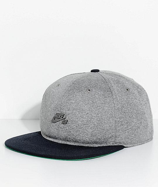 Nike SB Dri-Fit Aerobill Grey & Black Strapback Hat ...
