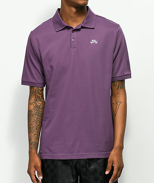 63b5ca9df Nike SB Dri Fit Pique Knit Purple Polo Shirt | Zumiez