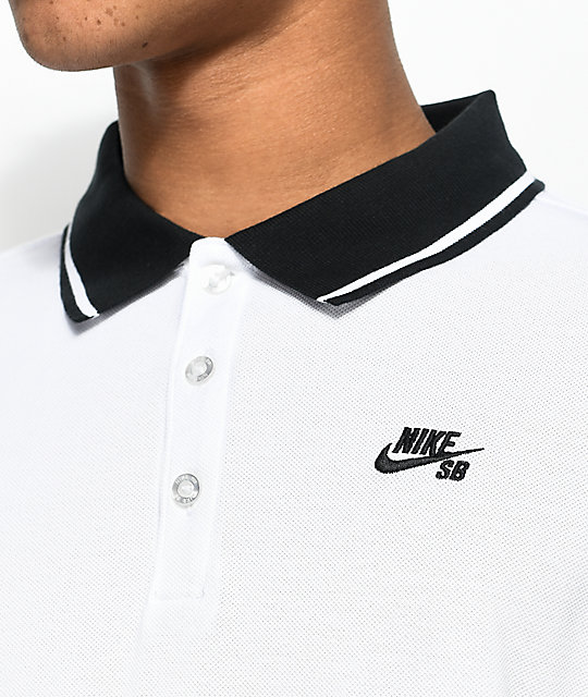 e03647e264e Nike SB Dri Fit Pique Knit White Long Sleeve Polo Shirt | Zumiez