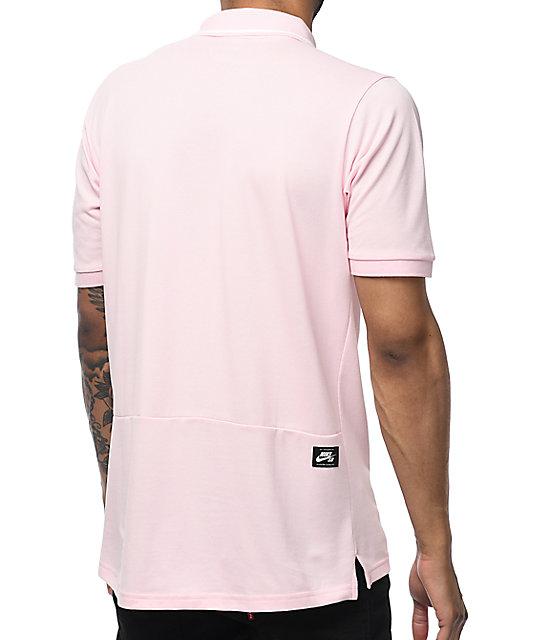 8d8b89b114 ... Nike SB Dri Fit Pique Knit camiseta polo en rosa ...