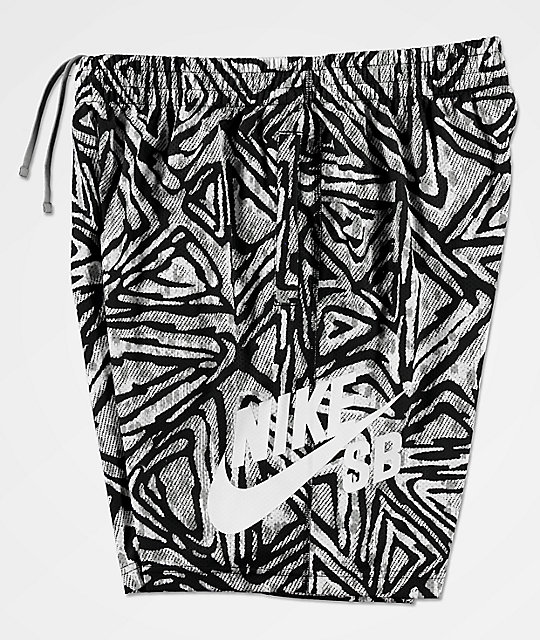 Nike SB Dri-Fit Sunday Geo Print Black & White Shorts