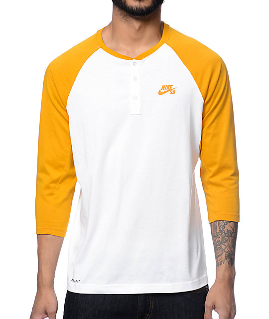 0315749a Nike SB Dri-Fit White & Yellow Henley Baseball T-Shirt | Zumiez