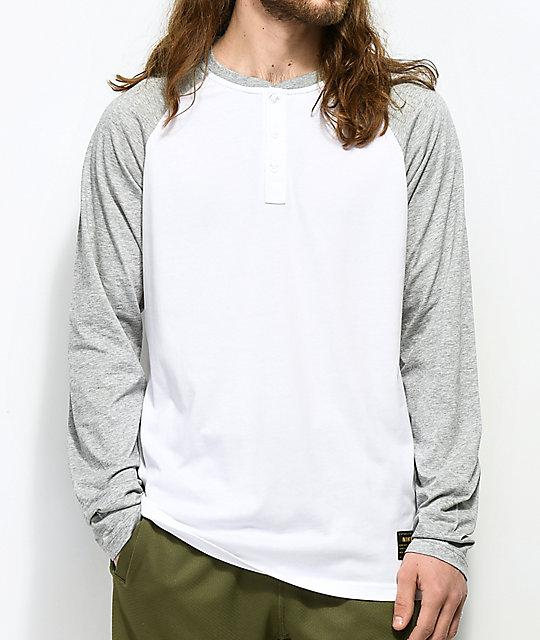 07875123f Nike SB Dri-Fit White Henley Long Sleeve T-Shirt | Zumiez