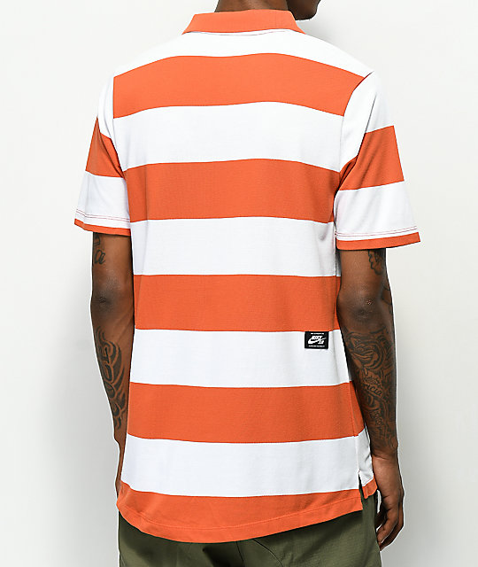 Nike SB Dri Fit Yarn Dyed White & Orange Polo Shirt