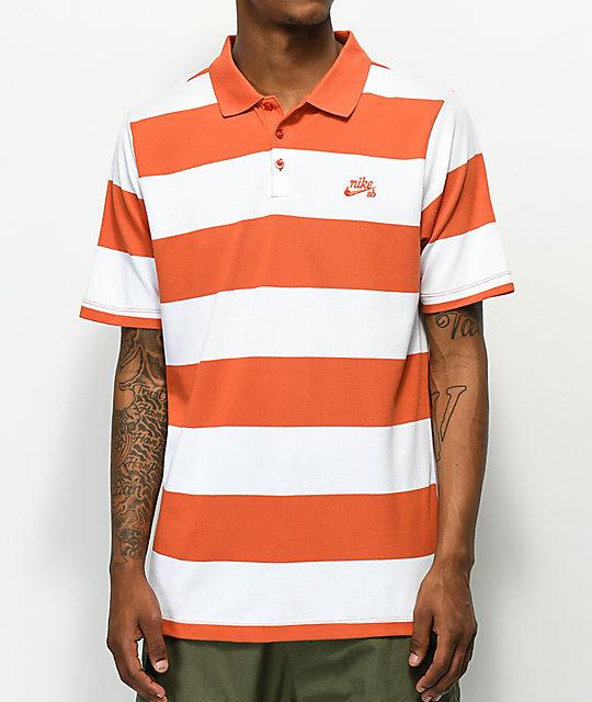 Nike SB Dri Fit Yarn Dyed White & Orange Polo Shirt