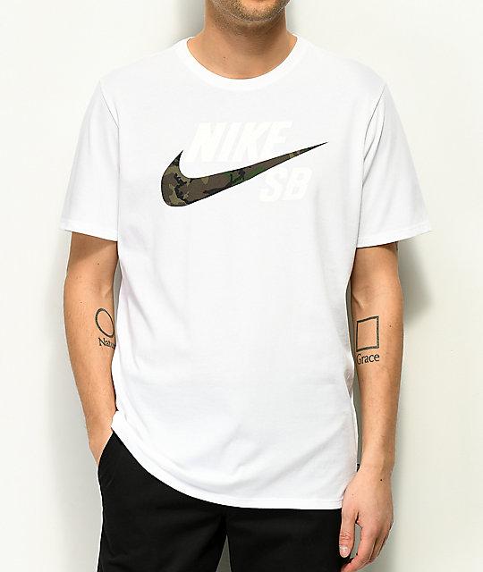 Blanca Camiseta Dry Zumiez Sb Camo Nike pwBff6