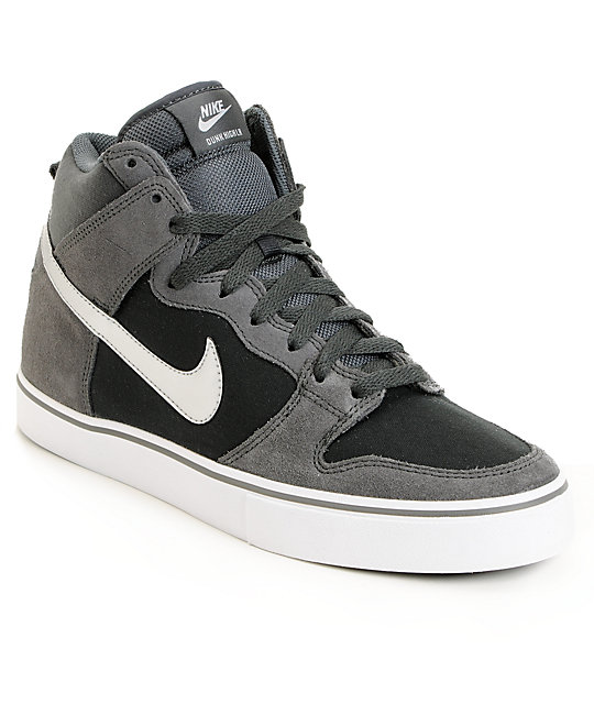 new product 79d1d 67915 Nike SB Dunk High LR Anthracite   Metallic Silver Skate Shoes   Zumiez