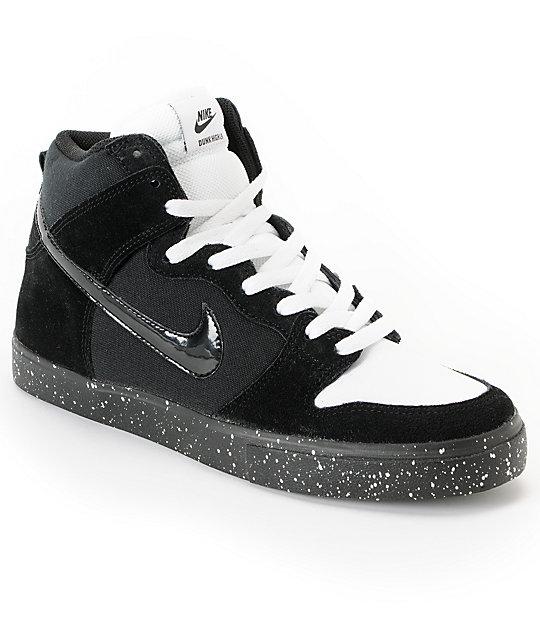 buy popular bbecc 13147 Nike SB Dunk High LR Black, White   Skunk Skate Shoes   Zumiez