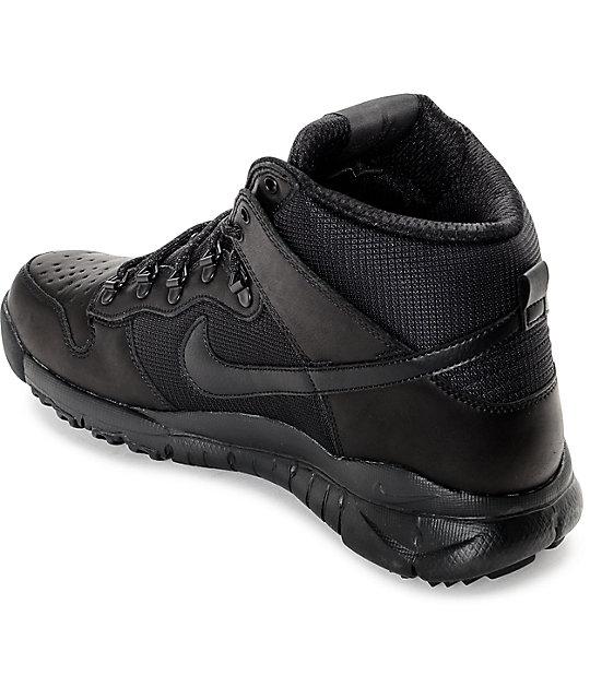 fbc70f924057 ... Nike SB Dunk High OMS All Black Shoes ...