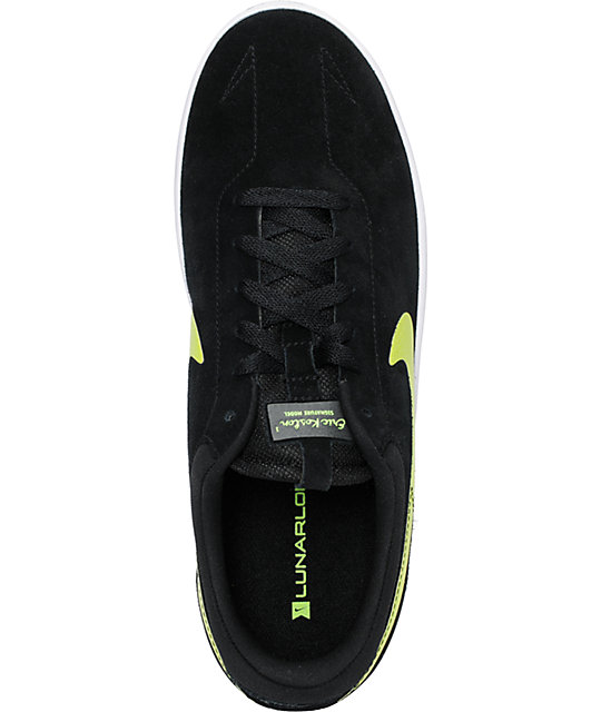 Nike SB Eric Koston 1 Lunarlon Black & Volt Skate Shoes