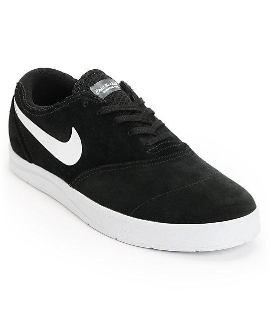 Nike SB Eric Koston 2 Lunarlon Black & White Suede Skate Shoes ...