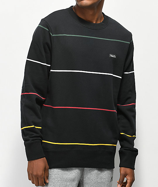 Nike Sb Everett Stripe Black Crew Neck Sweatshirt Zumiez