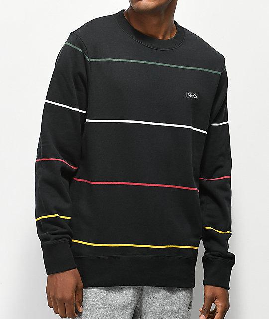Nike SB Everett Stripe Black Crew Neck Sweatshirt