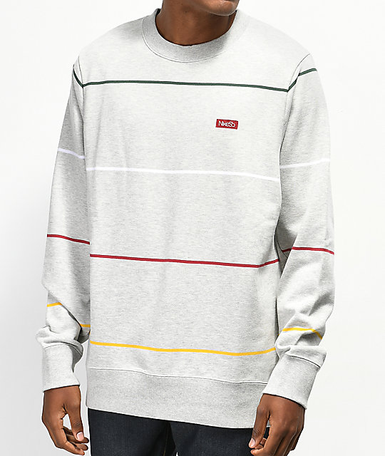 Nike Sb Everett Stripe Grey Crew Neck Sweatshirt Zumiez