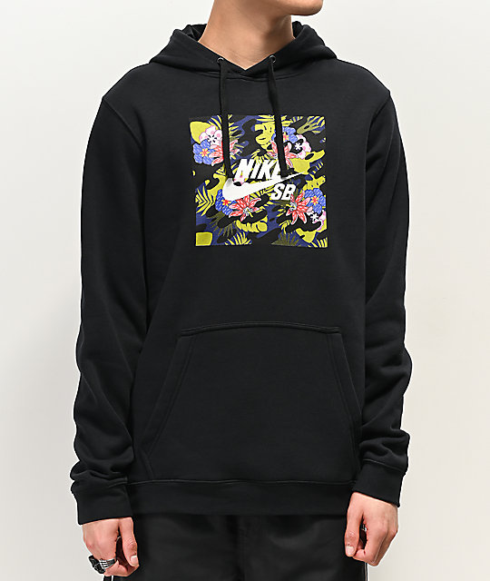 a34d32911937 Nike SB Floral Safari Black Hoodie