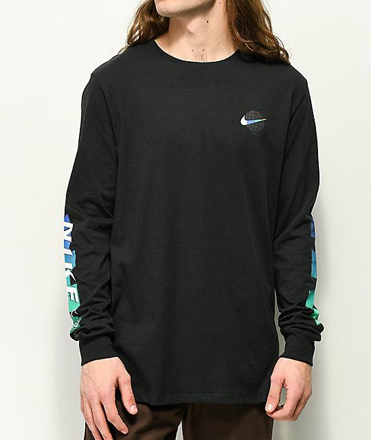 94083477 Nike SB Globe Black Long Sleeve T-Shirt | Zumiez