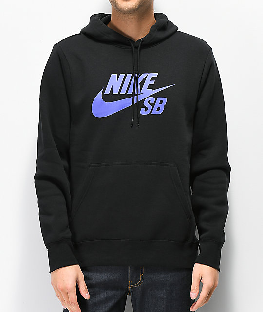 Nike SB Icon Black   Purple Hoodie  48a416887be8