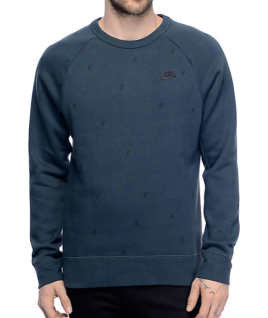 Nike Sb Icon Bolt Seaweed Black Crew Neck Sweatshirt Zumiez