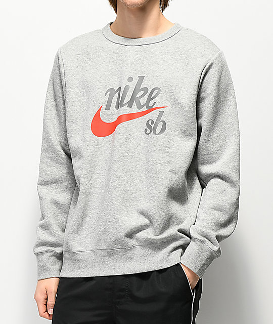 Nike Sb Icon Craft Heather Grey Crew Neck Sweatshirt Zumiez