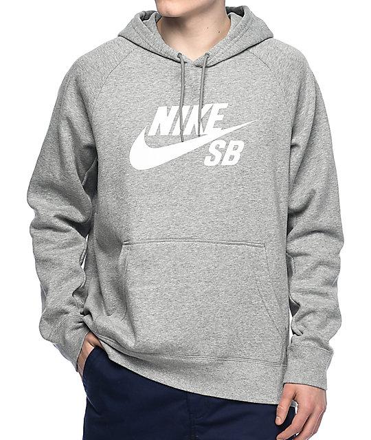 b5565442810cb Nike SB Icon Grey & White Hoodie | Zumiez.ca