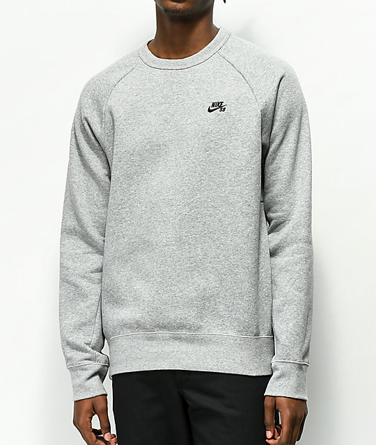Nike Sb Icon Heather Grey Crew Neck Sweatshirt Zumiez