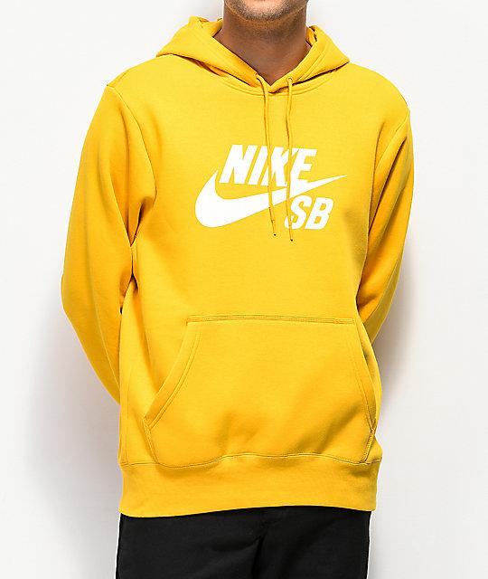 lo último a306d 8b603 Nike SB Icon Ochre sudadera con capucha amarilla
