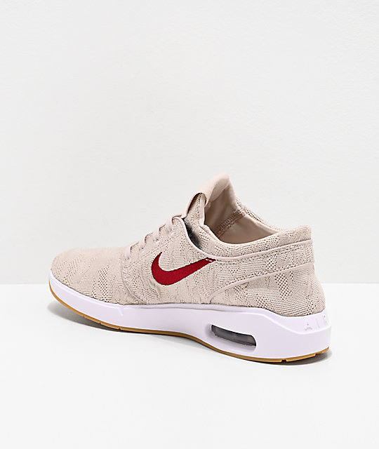 Nike SB Janoski Air Max 2 Desert Sand & Obsidian Red Skate Shoes