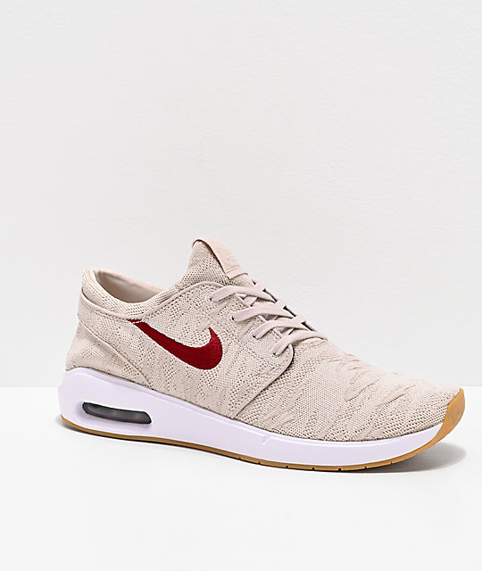 on wholesale many fashionable finest selection Nike SB Janoski Air Max 2 Desert Sand & Obsidian Red Skate Shoes