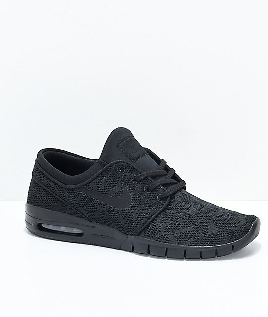 9fbe3aa369 Nike SB Janoski Air Max All Black Skate Shoes | Zumiez