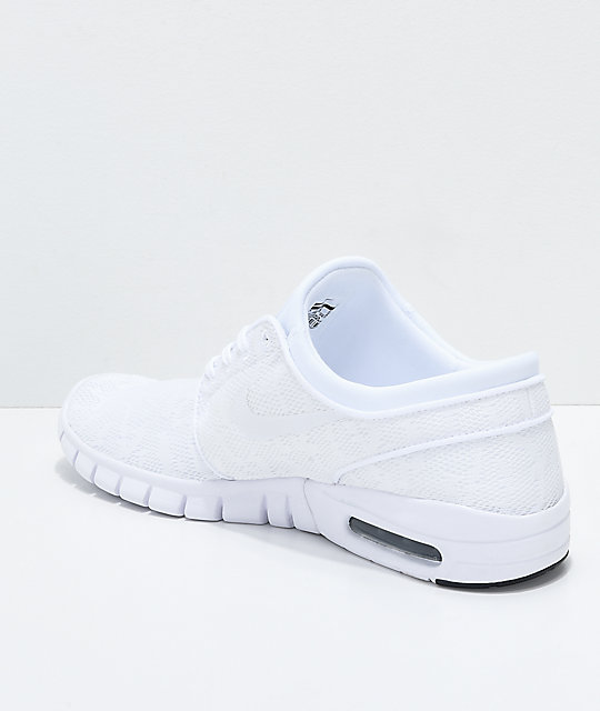 Nike SB Janoski Air Max All White Skate Shoes