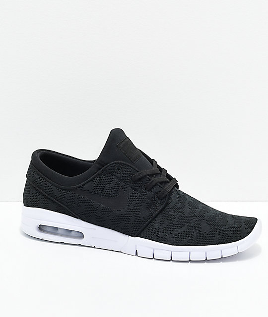 Nike SB Janoski Air Max Black   White Skate Shoes  c0da3c6b410e