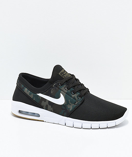 Nike SB Janoski Air Max Black & Camo Mesh Skate Shoes ...