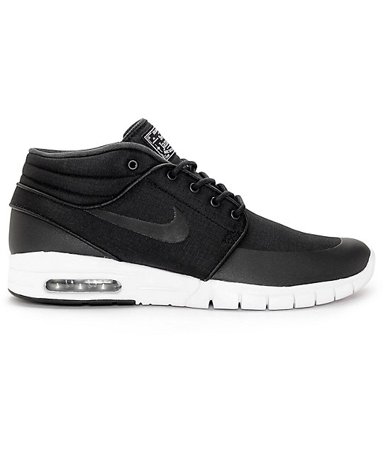 Nike SB Janoski Air Max Mid Black & White Skate Shoes