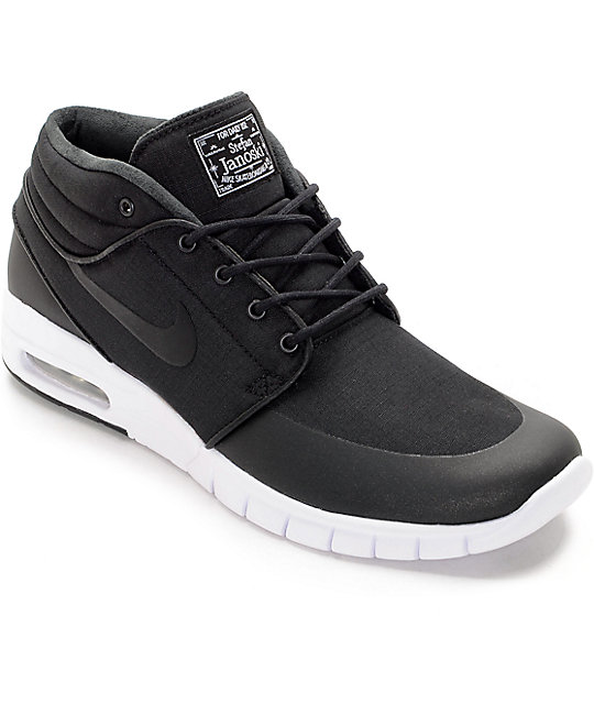 new specials the best promo code Nike SB Janoski Air Max Mid Black & White Skate Shoes
