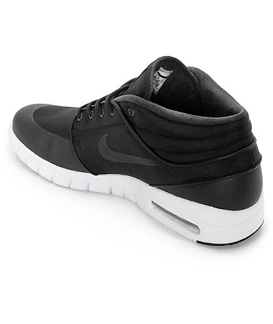 ... Nike SB Janoski Air Max Mid Black & White Skate Shoes ...