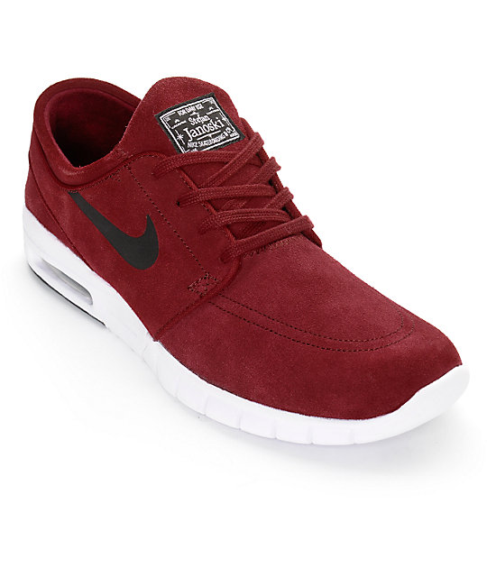 various styles detailed images finest selection Nike SB Janoski Air Max Team Red, Black, & White Shoes