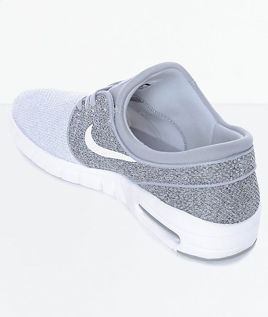 Nike SB Janoski Air Max Wolf Grey, Grey & White Skate Shoes