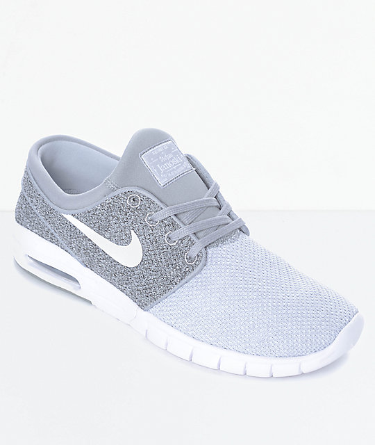 f6f8550275 Nike SB Janoski Air Max Wolf Grey, Grey & White Skate Shoes | Zumiez.ca