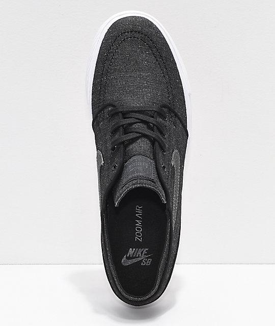 ... Nike SB Janoski Anthracite & White Canvas Skate Shoes ...